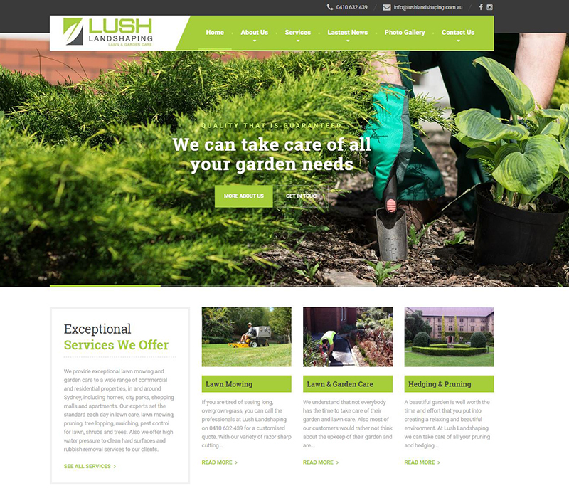 Lush Landscaping website design
